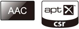 高音質・高圧縮技術AAC/apt-Xコーデック対応